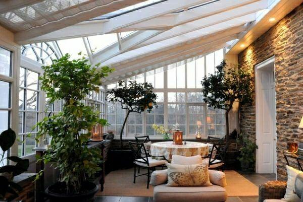 wintergarten terrassen ideen rattanmöbel holzboden terrasse, Garten ideen