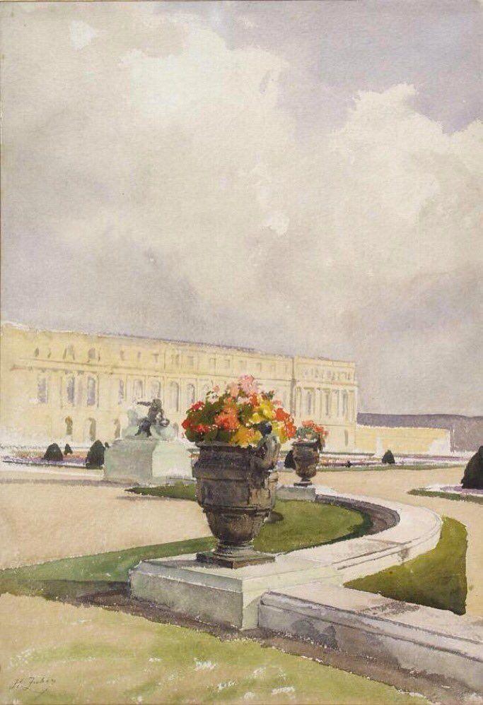 Vase De Fleurs Et Chateau De Versailles H Zuber Vers 1900