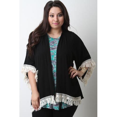 Tassel Crochet-Hem Open Front Cardigan