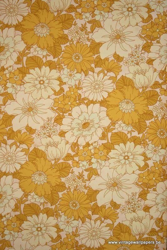 ochre floral Vintage phone wallpaper, Retro wallpaper