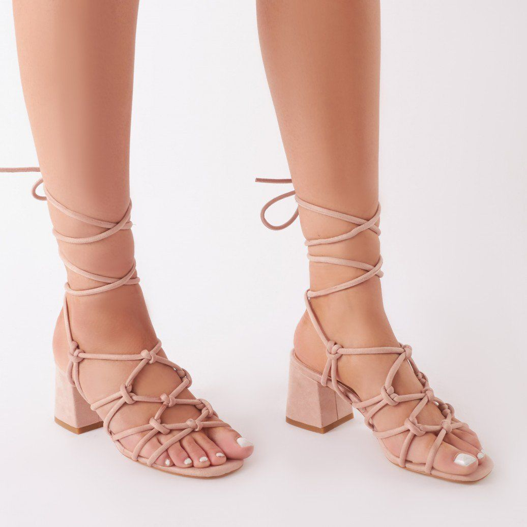 f821cdfb5614 Freya Knotted Strappy Block Heeled Sandals in Blush Nude Faux Suede