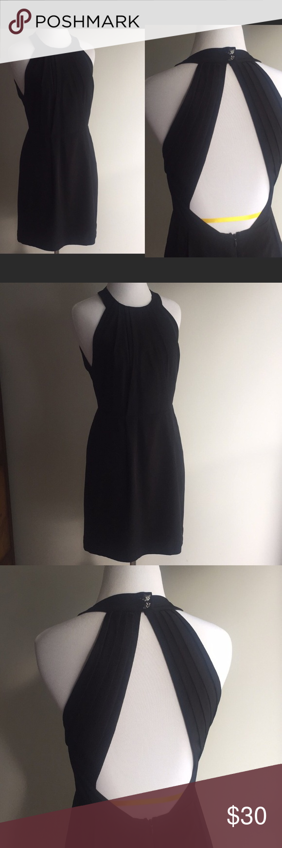 """BCBGeneration Lined Cocktail Dress Pristine Size 2 Little Black Dress LBD BCBGeneration Lined Black Dress.  Open pleated Back adorable Fox Buttons. Cocktail After 5 Attire Bust pit to pit 15"""" Length 34"""" BCBGeneration Dresses Backless #backlesscocktaildress"""
