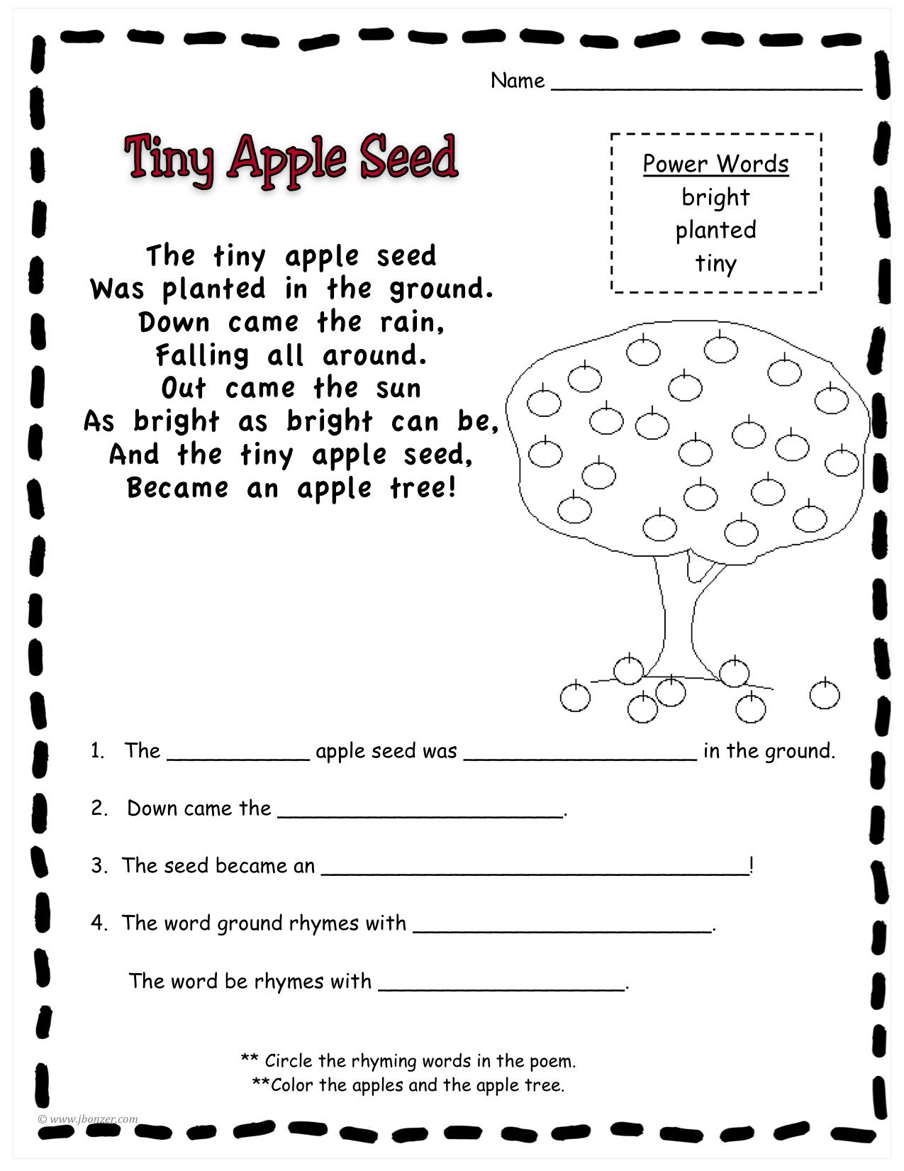 Johnny Appleseed Poems Google Search Poems For First Grade
