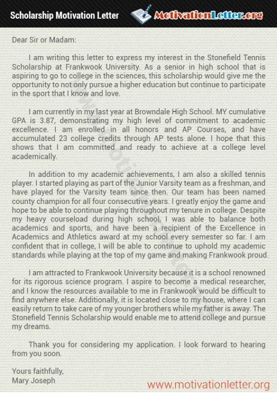 Scholarships Letter Sample | Motivational letter ...