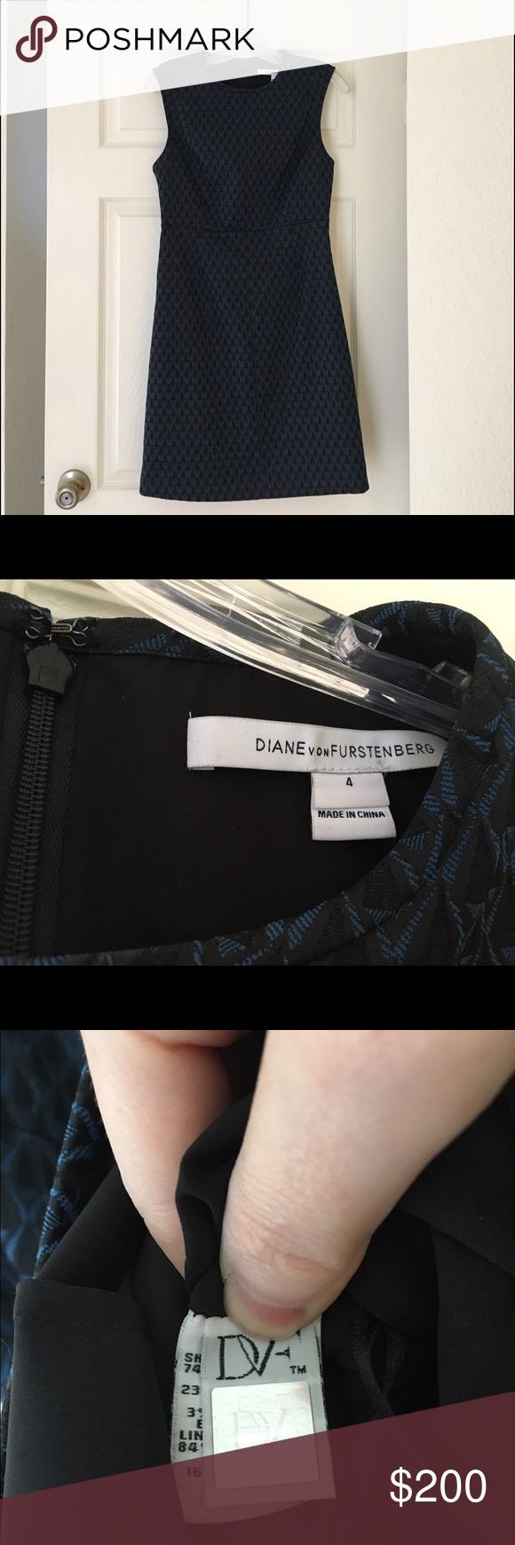 Diane Von Furstenburg Madyson dress Jacquard blue and black DVF dress. Worn twice but in perfect condition. Runs large. Diane von Furstenberg Dresses