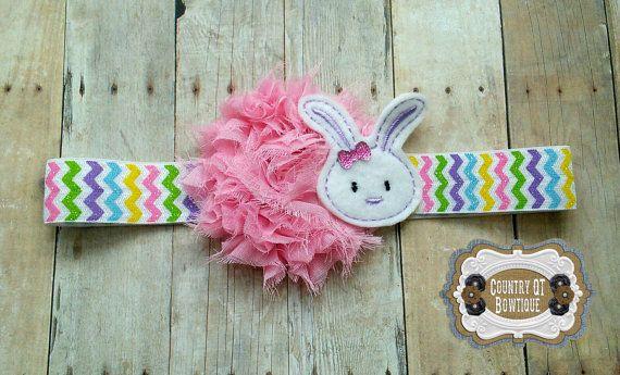 Pink Shabby Flower Bunny Headband by CountryQTBowtique on Etsy