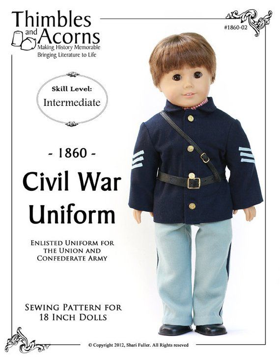 Pixie Faire Thimbles and Acorns 1860 Civil War Uniform Doll Clothes ...