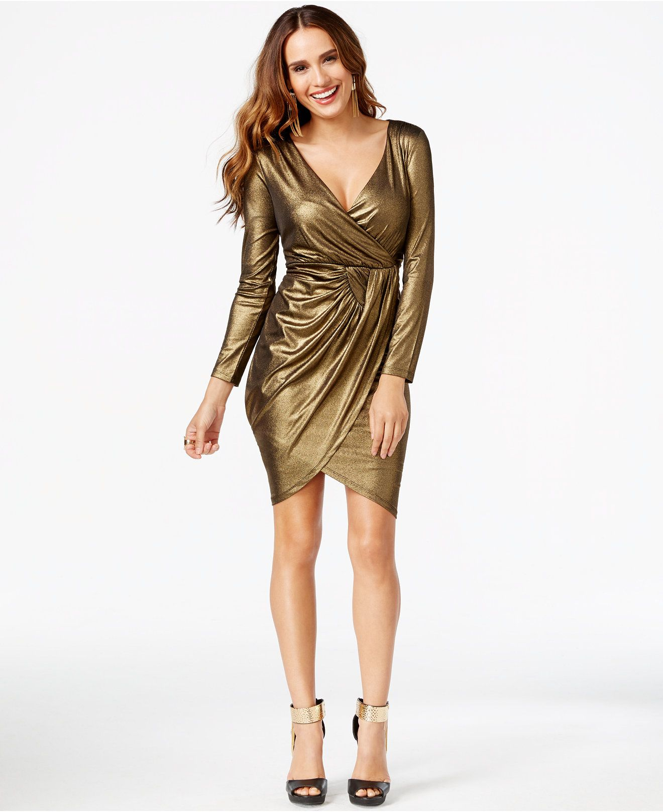Thalia Sodi Metallic Faux-Wrap Dress 17b7207c3