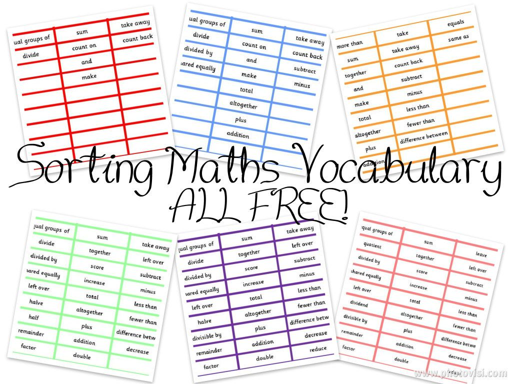 Sorting cards and worksheets to sort maths vocabulary into the – Math Vocabulary Worksheets
