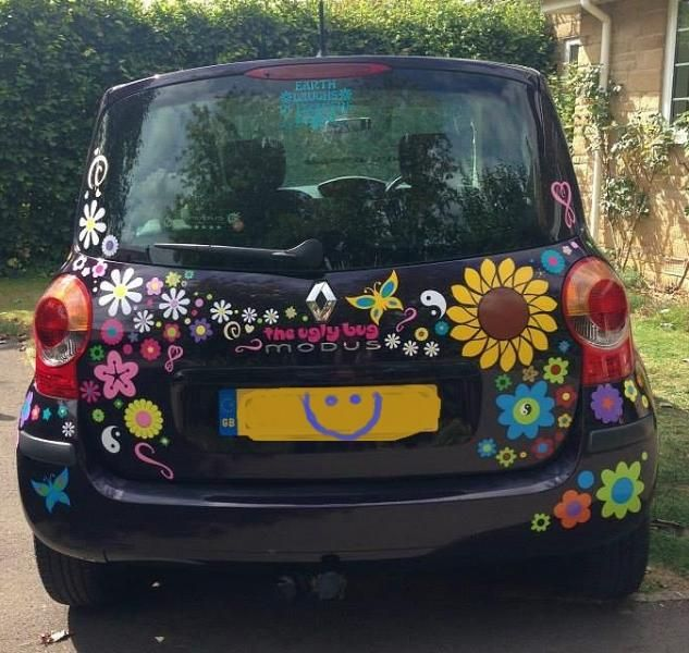 Sunflower car sticker hippy motors car stickers vinyl decals transfers