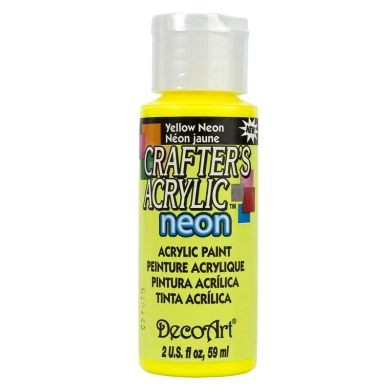 decoart crafter s yellow neon acrylic paint 59 ml hobbycraft