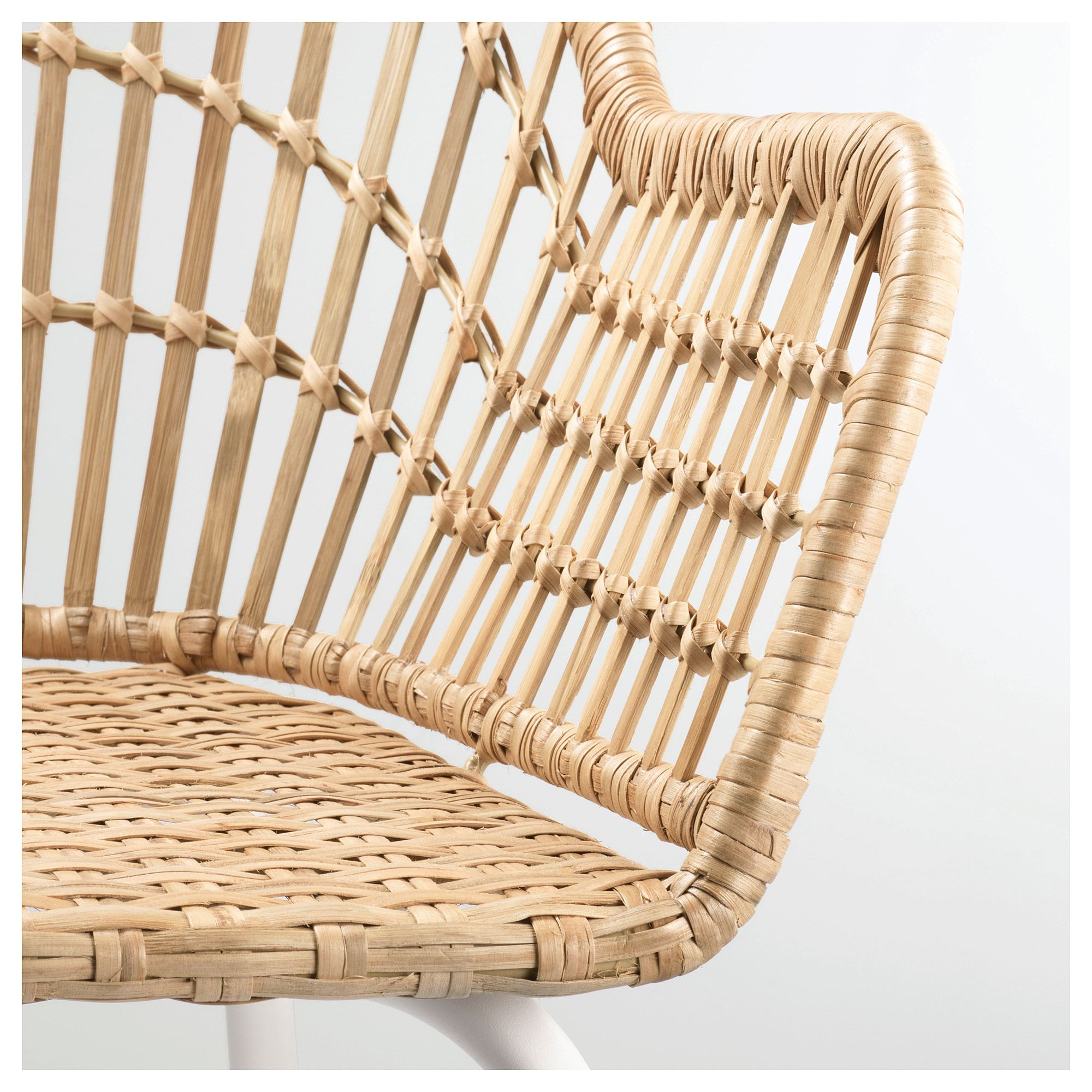 NILSOVE Chair with armrests rattan, white Rattan, Ikea