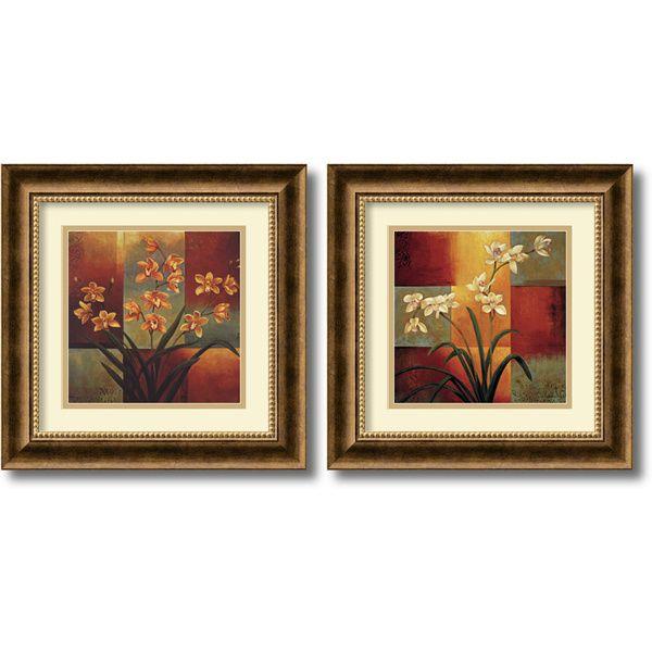 Framed Wall Art Set Of 2 jill deveraux 'orchids' 2-piece 17 x 17-inch framed art print