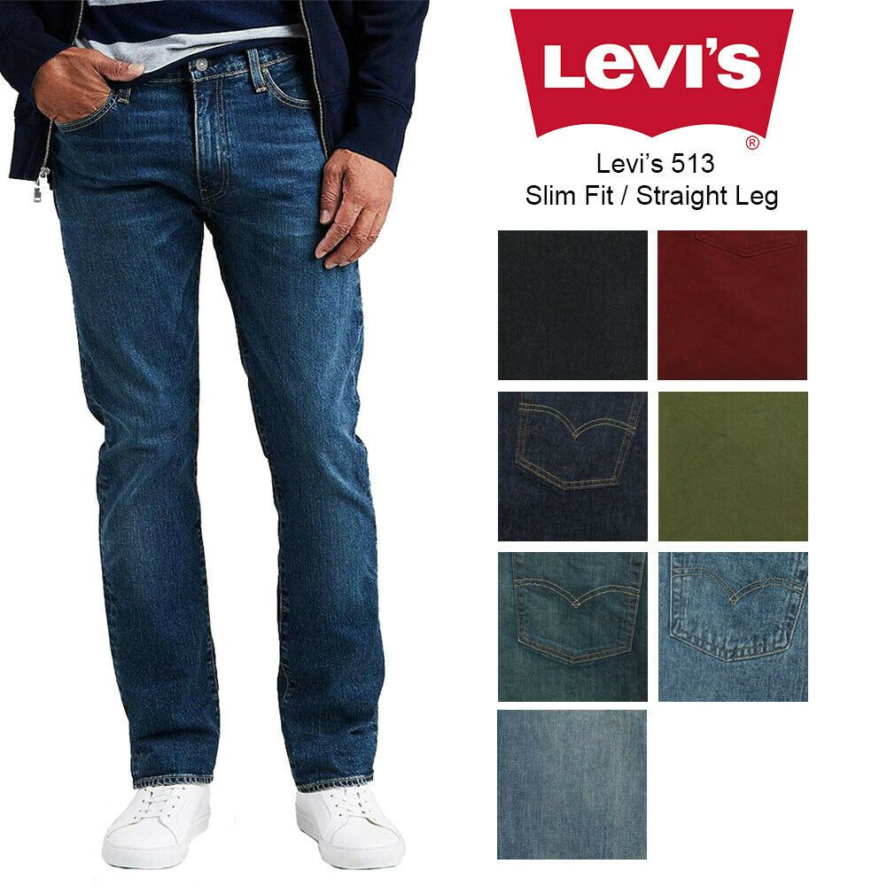 Levis mens 513 slim fit mens straight jeans ripped