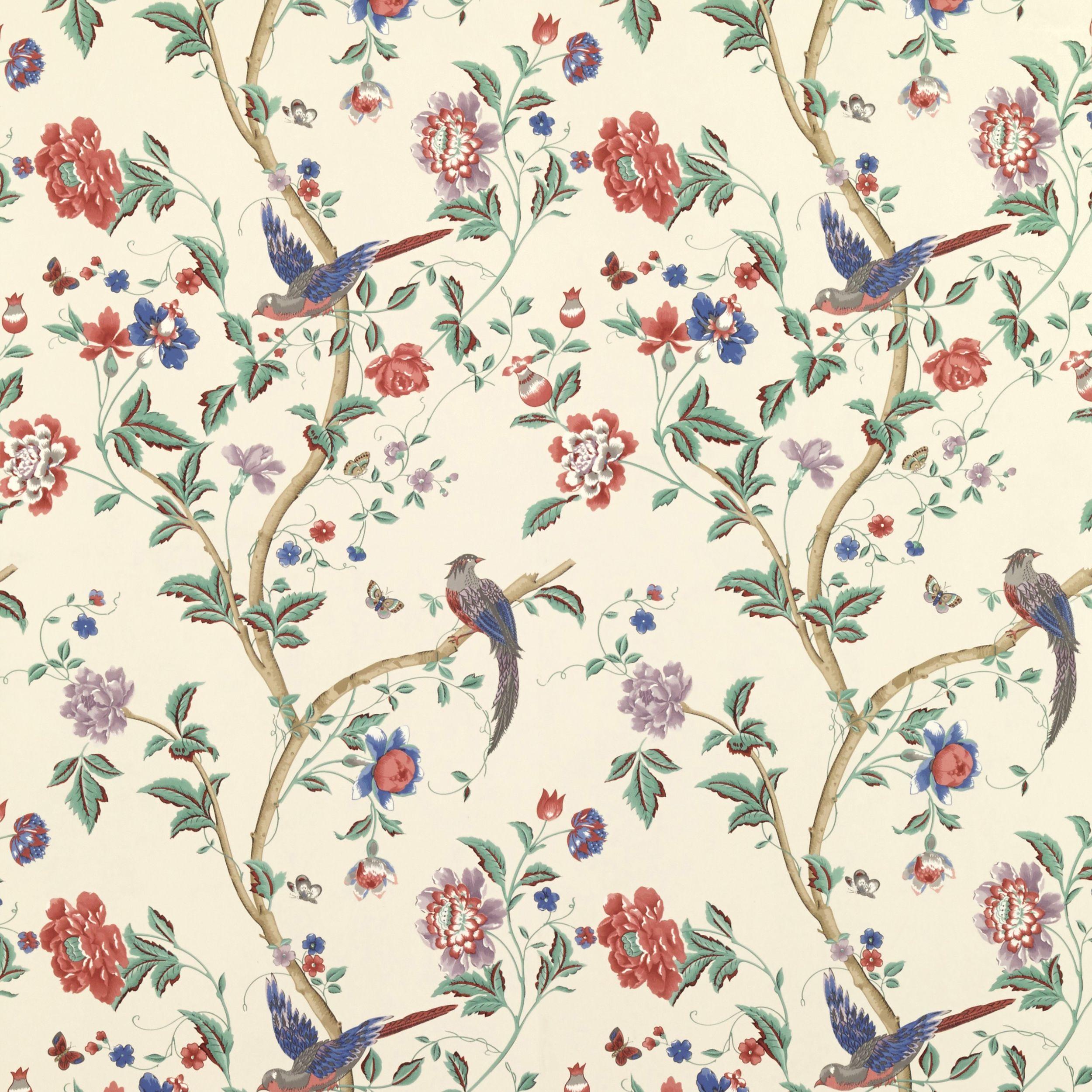 Summer Palace Multi Crimson Floral Wallpaper At Laura Ashley