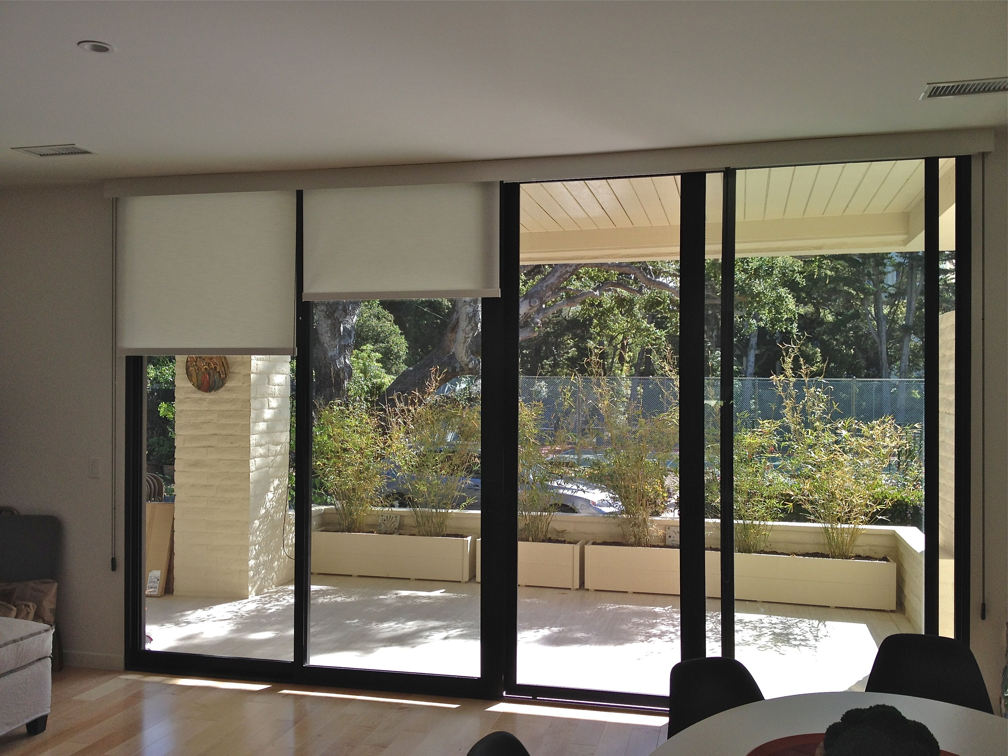 window when ruffell dobby sheer banded detail the solid of product fashions douglas operated fabric bands bnd shades brown blinds hunter designer and st