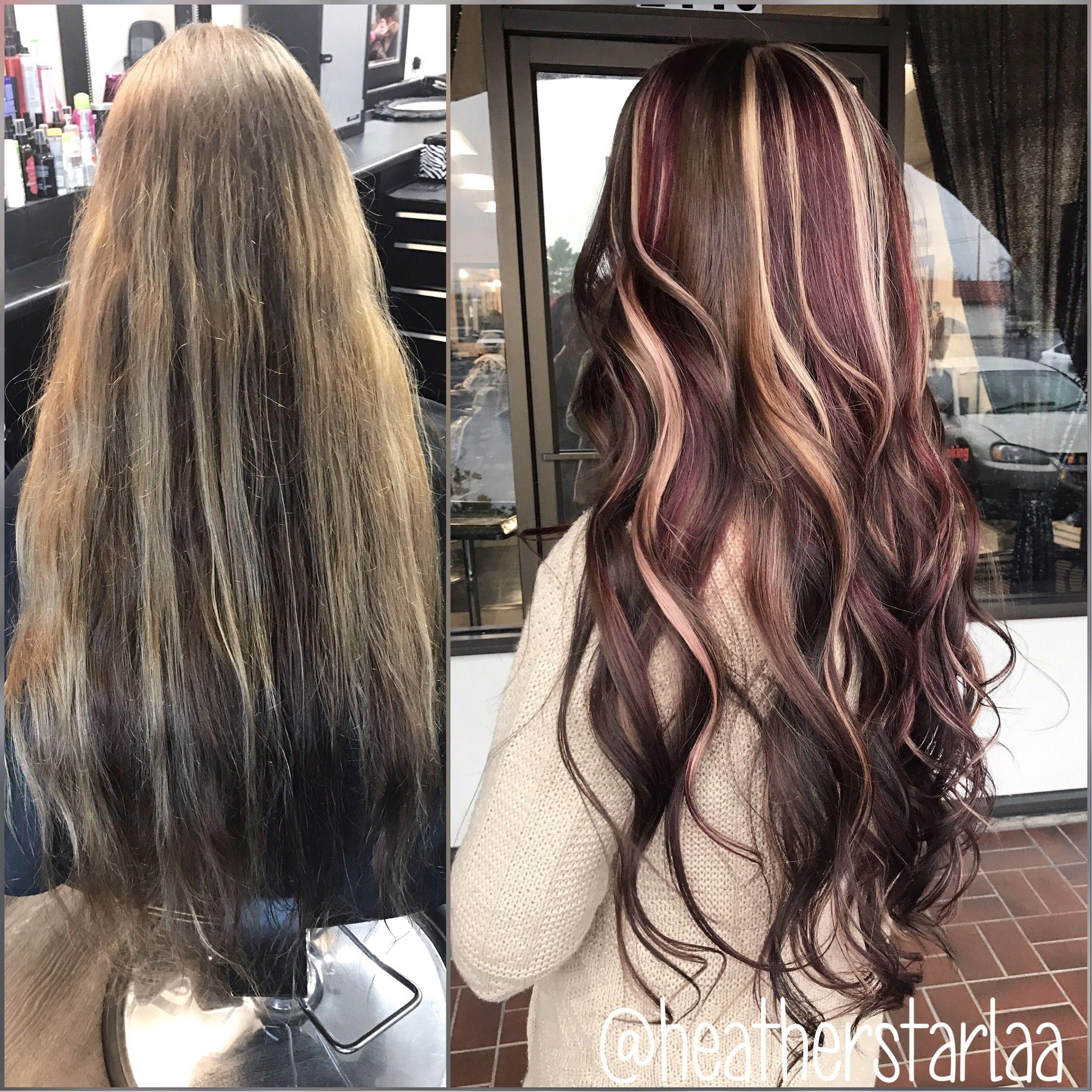 Long hair. Curled hair. Chocolate brown hair. Red highlights ...