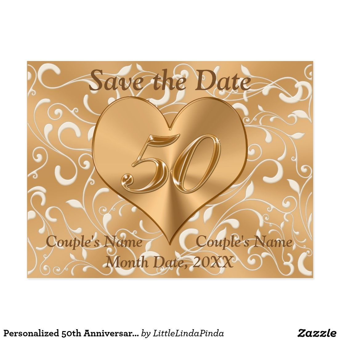 Personalized 50th Anniversary Save The Date Cards Wedding