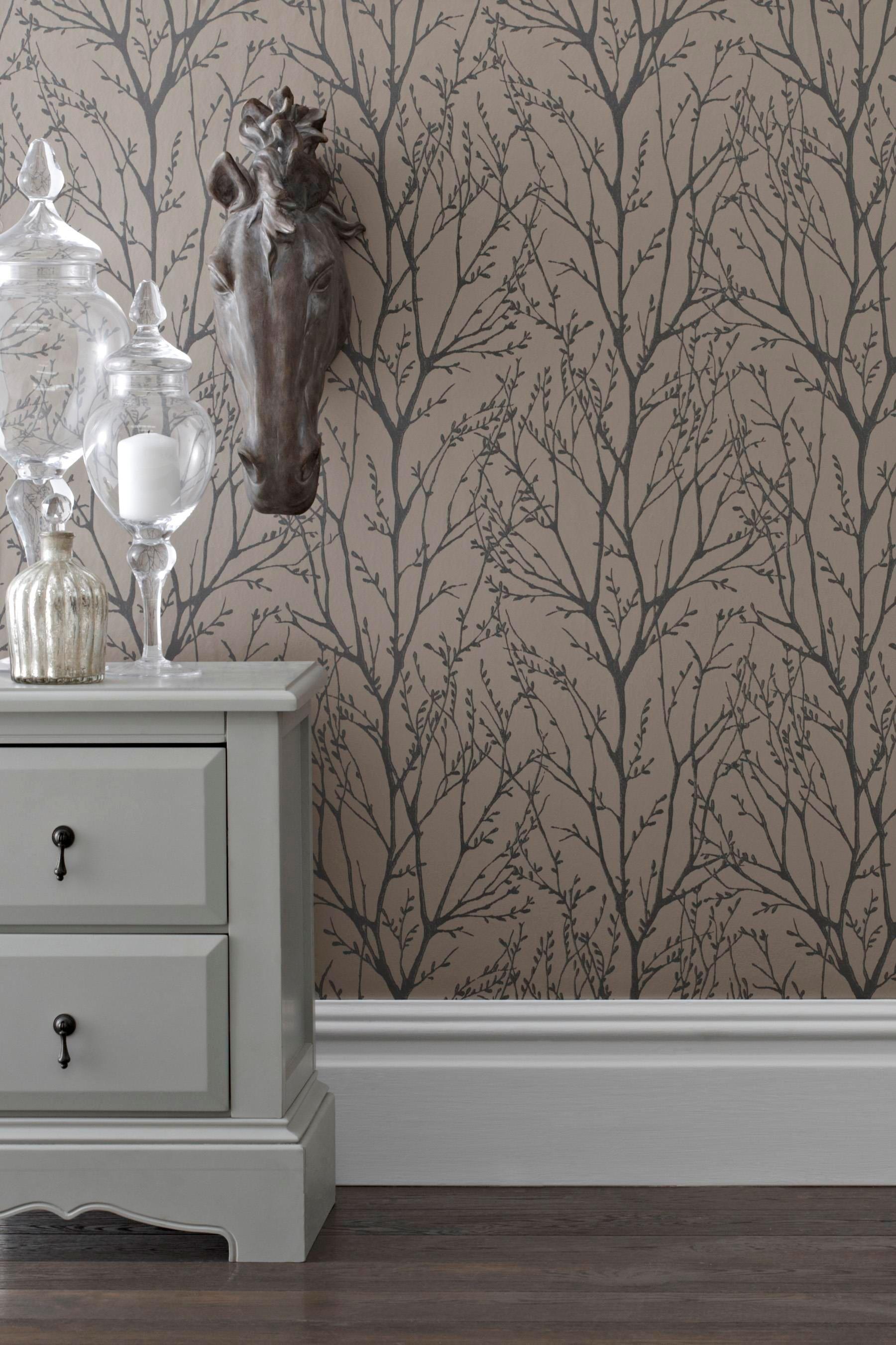 buy twiggs mink wallpaper from the next uk online shop lounge decorating ideas bedroom. Black Bedroom Furniture Sets. Home Design Ideas