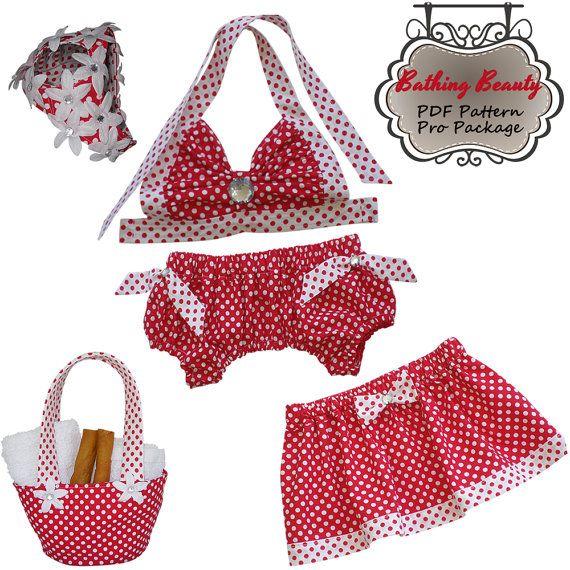 Dog Swimsuit Bikini Skirt Tote Cap 1940s Pin Up Style Pdf Sewing