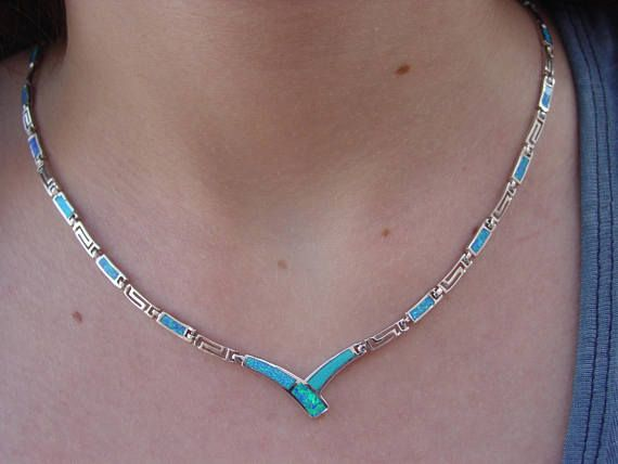 White opal Greek design necklace in sterling silver 925