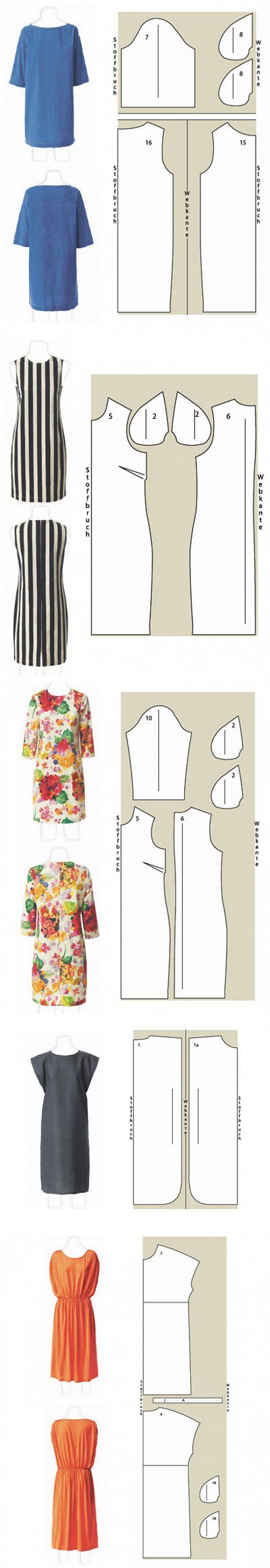 4 vestidos para un verano \/ los patrones Simples \/ | Moldes ...
