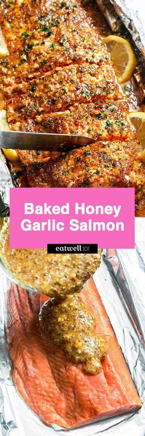 Baked Honey Garlic Salmon in Foil — Sweet and tangy flavors shine in this bright seafood dinner. A whole salmon fillet coated in