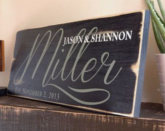 Personalized Last Name Sign Custom Wedding Signs Rustic Wood Sign