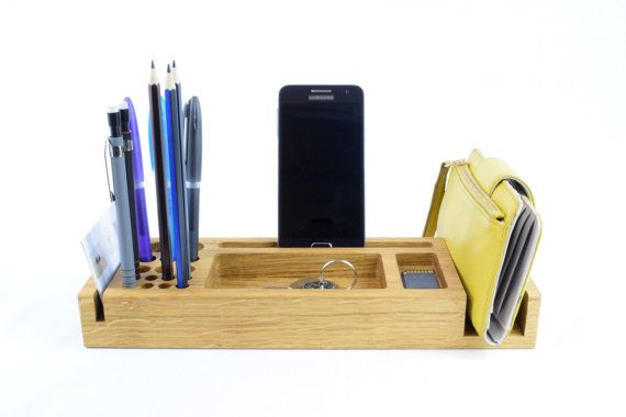 Wooden Desk Organizer Personalized Gift For Him Phone