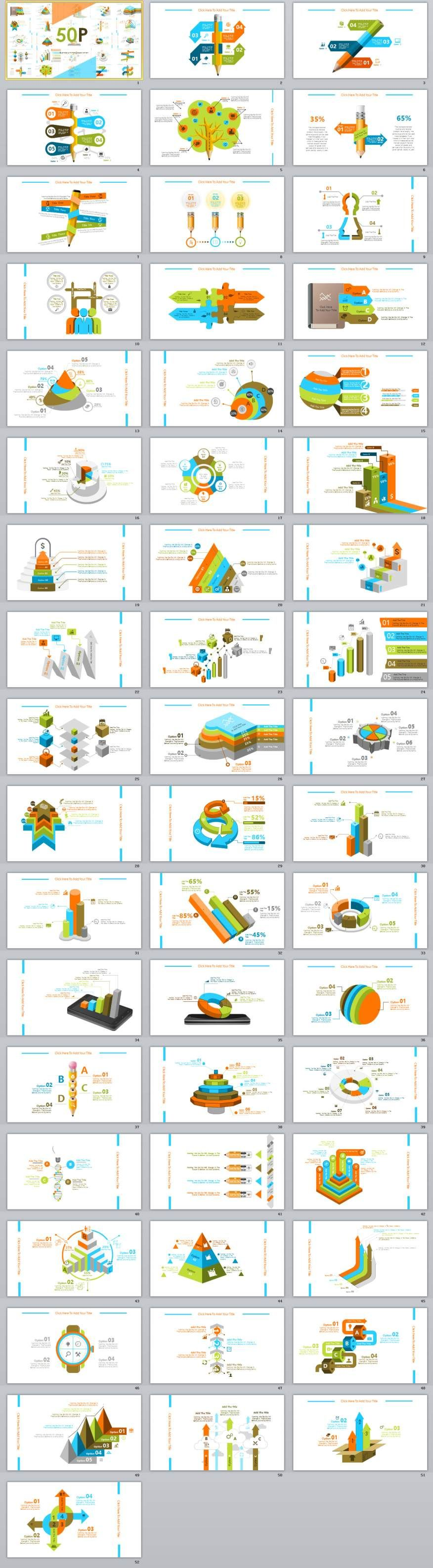 50 best infographics chart powerpoint template presentation