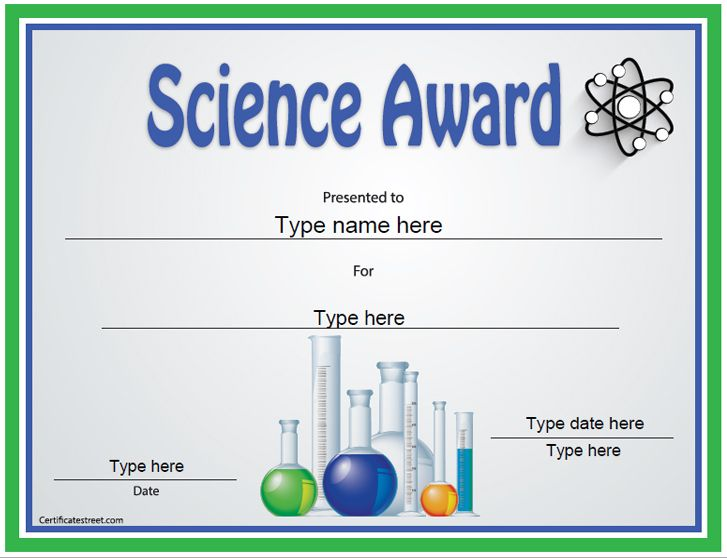 Education Certificate  Science Award Template  Certificatestreet
