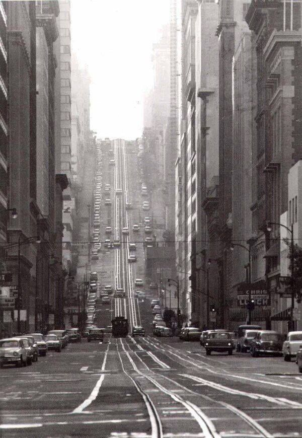 A look down (or in this case UP) California Street in San Francisco in 1954.