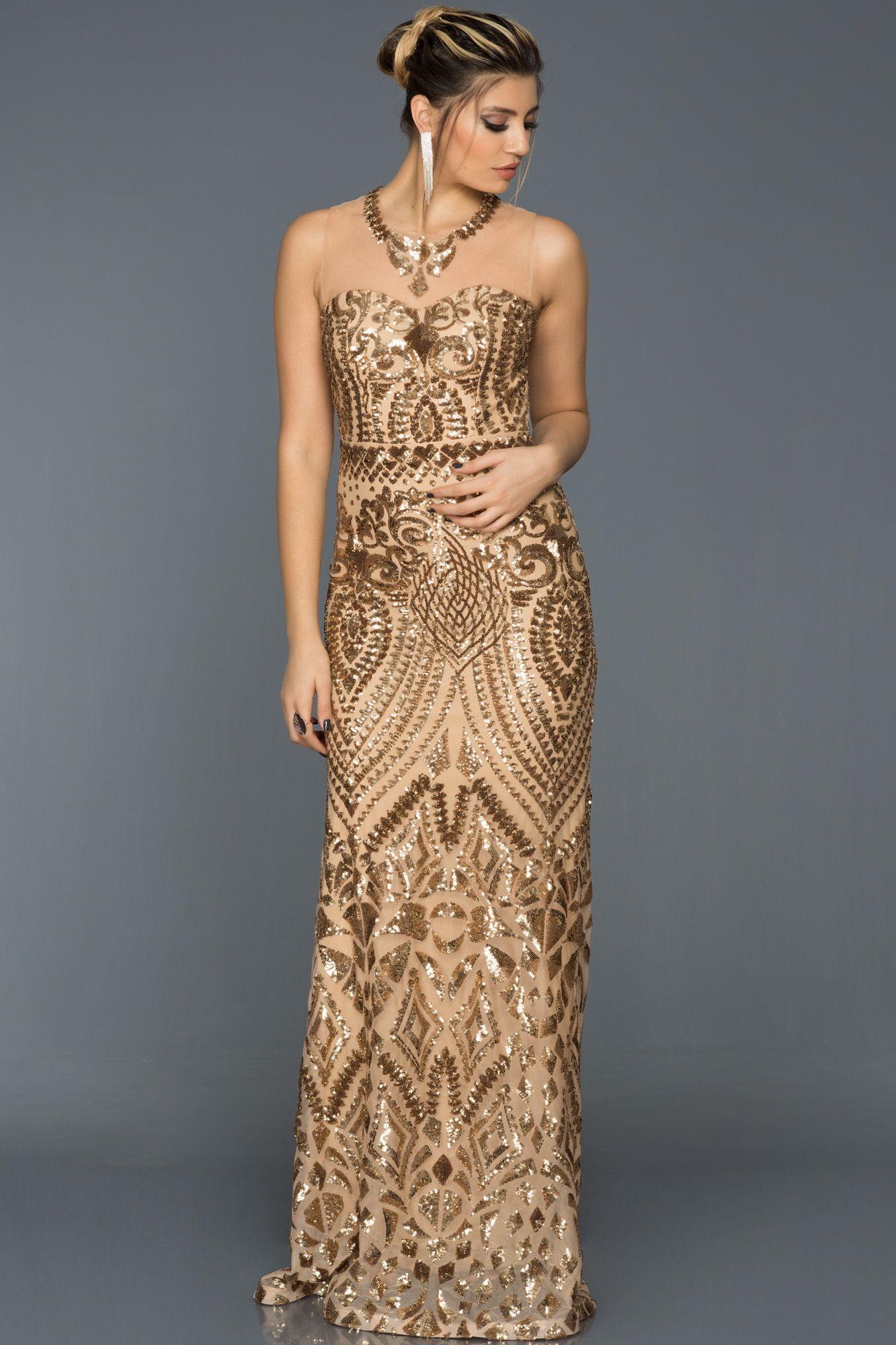 Gold Payetli Abiye Elbise Abu299 Elbise Elbise Modelleri Resmi Elbise