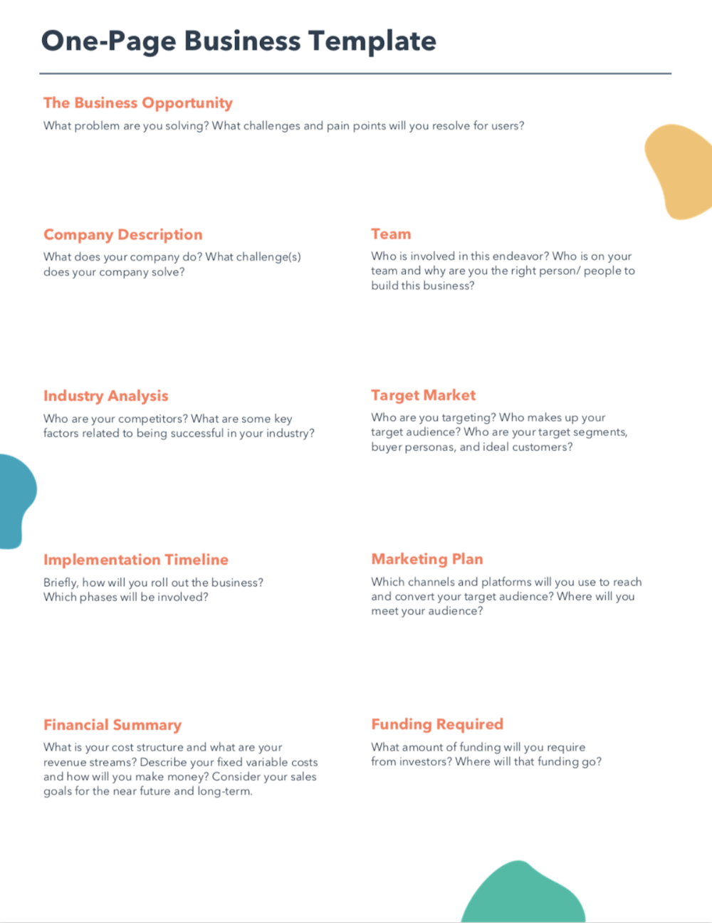 Free Template For Pdf Word Hubspot Simple Business Plan Template One Page Business Plan Startup Business Plan