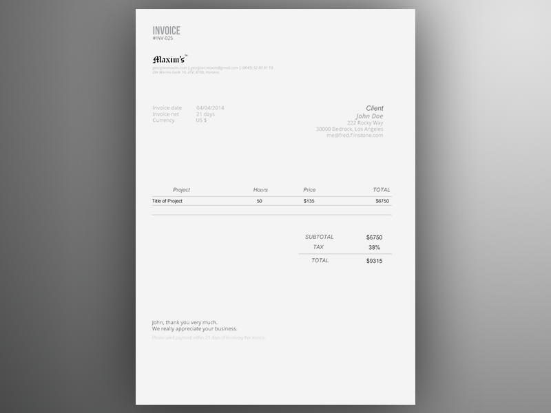 Advance Invoice Delivery Credit PDF Custom Number PrestaShop     Invoice Template AI Freebie By GeorgianSorin Maxim Branding   Free invoice  templates word online lingerie store