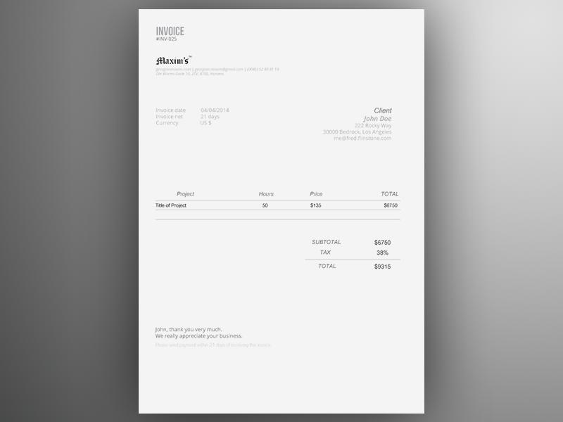 Invoice Template Ai