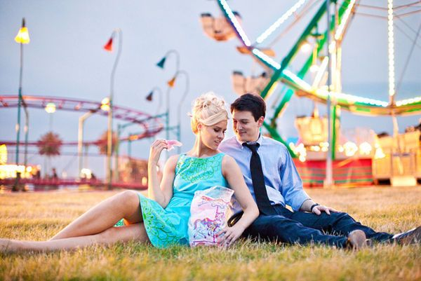 vintage carnival engagement shoot