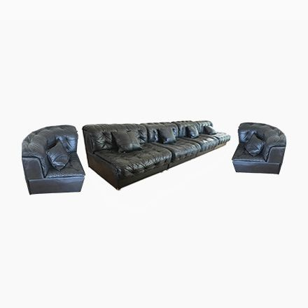 Modulares schwarzes Modell DS-11 Ledersofa von de Sede | Sofas ...