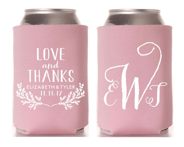 Love And Thanks Personalized Monogrammed Wedding Koozies