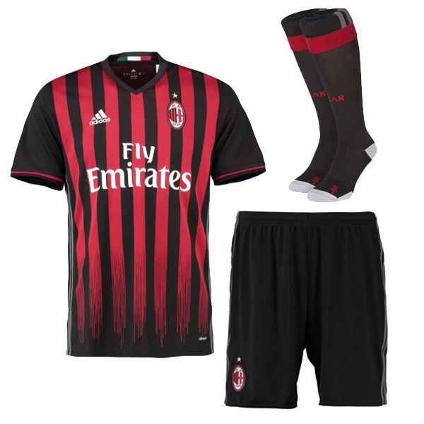 AC Milan Jersey 2016/17 Home Soccer Kit (Shirt+Shorts+Socks)
