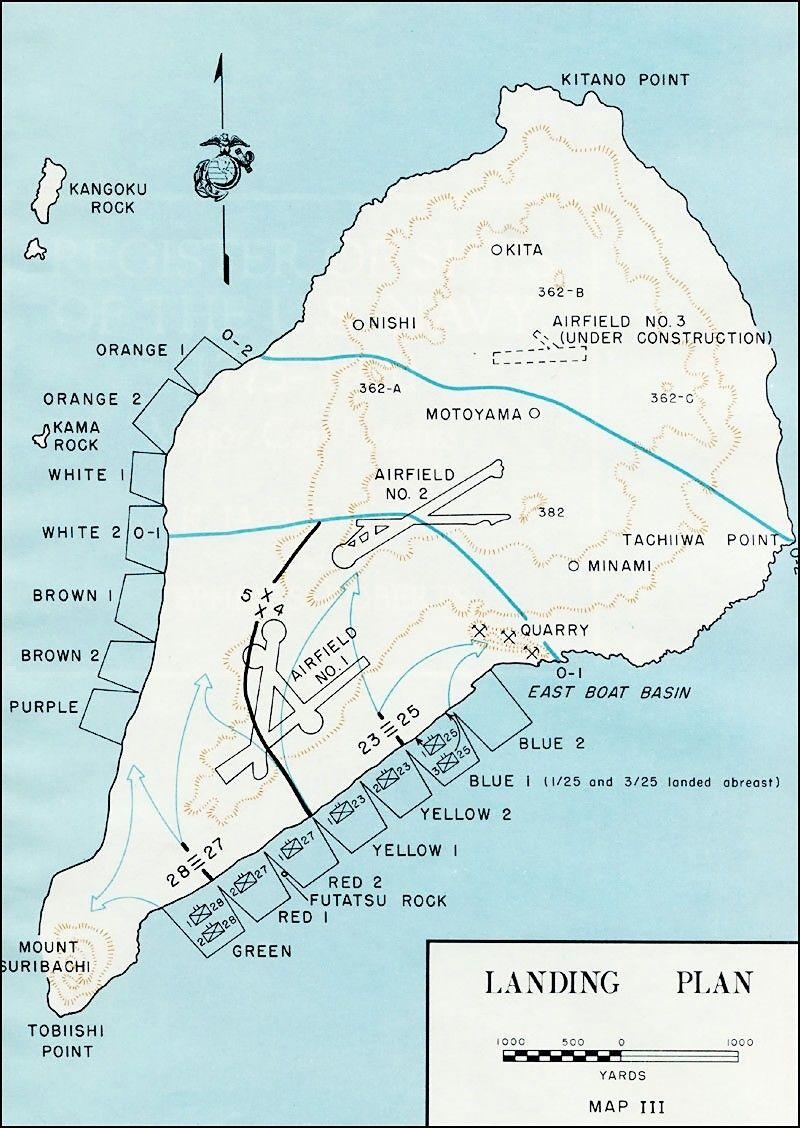 Iwo Jima Amphibious Landing Plan | Iwo Jima | Iwo jima, World war ii Iwo Jima Map on