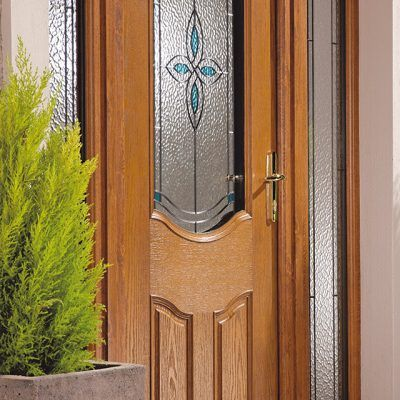 Oak Effect Composite Door with decorative glass | Entrance Doors ...