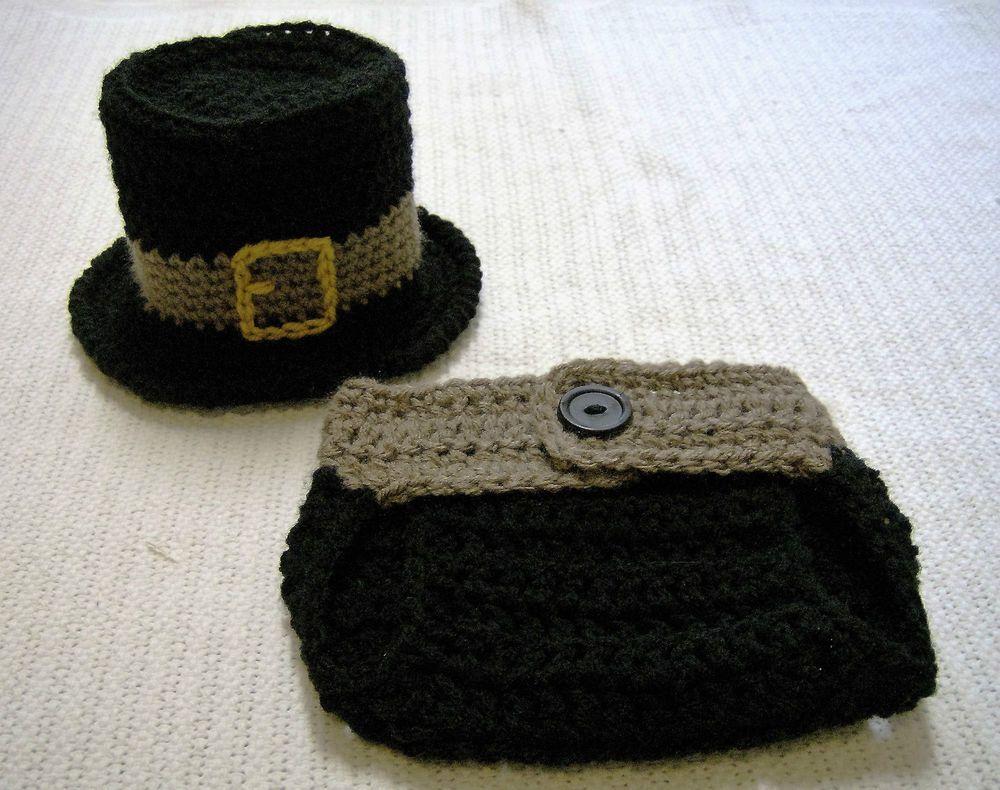Newborn Baby Pilgrim Hat and Diaper Cover Set--Hand Crochet--Photo Prop #Handmade