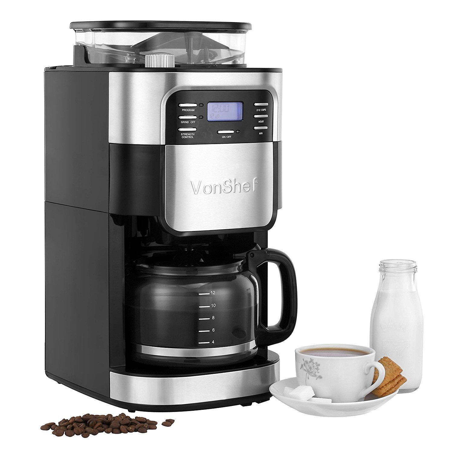 VonShef 900W Premium 12 Cup Digital Filter Coffee Maker