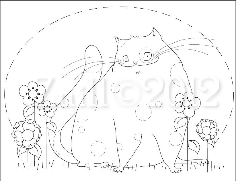 Fat Cat Free Embroidery Pattern Andrea Zuills Blog Embroidery