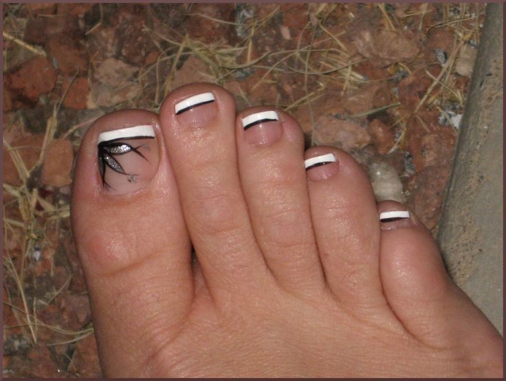 French pedicure with black line and flower mani pedi heaven black toenail design taking care of your nails making sure they are healthy and balanced is the primary step to stunning na prinsesfo Choice Image