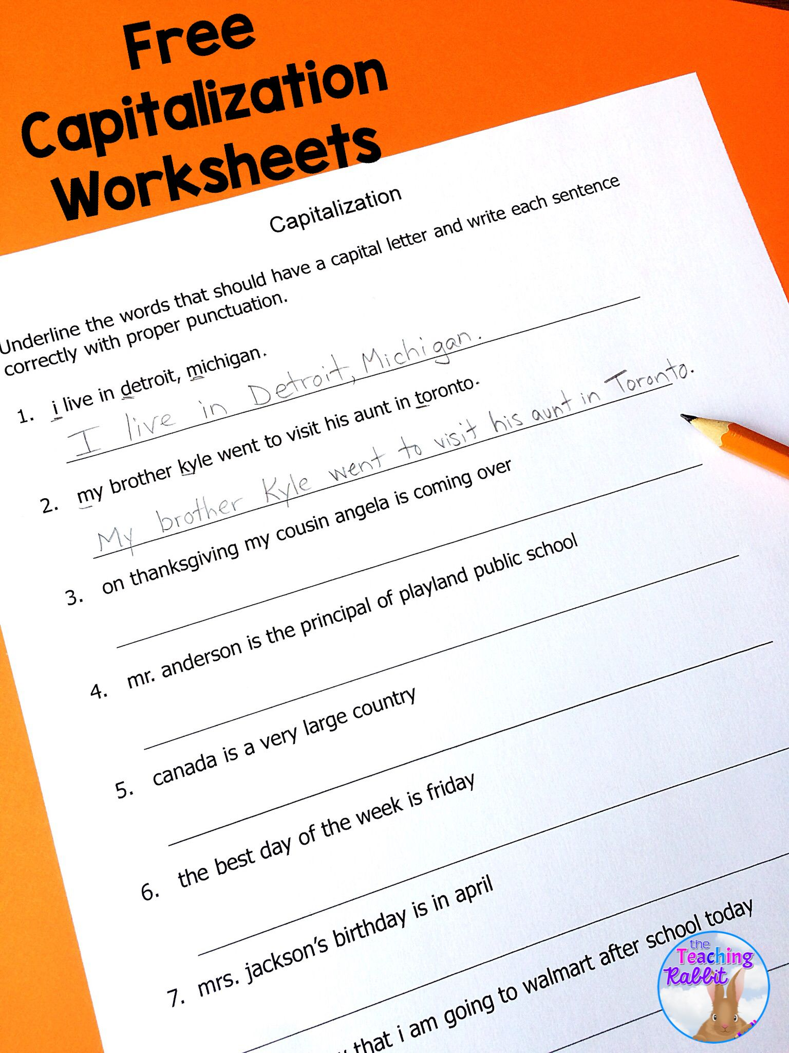 Capital Letter Sentence Worksheet 1st Grade   Printable Worksheets and  Activities for Teachers [ 2048 x 1536 Pixel ]