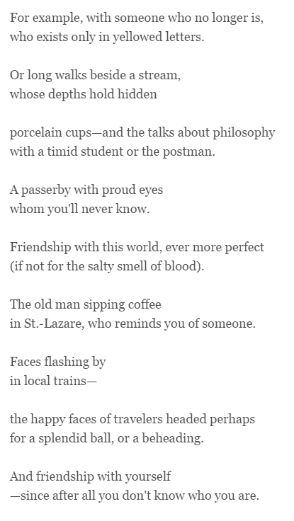 Impossible Friendships By Adam Zagajewski Translated By Clare - Impossible poem