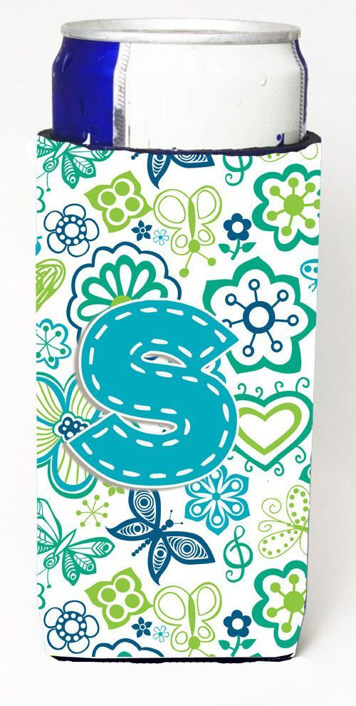 Letter S Flowers and Butterflies Teal Blue Ultra Beverage Insulators for slim cans CJ2006-SMUK