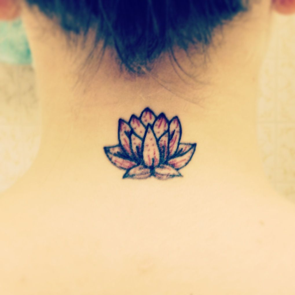 New Small Lotus Neck Tattoo Red Signifies Love And Compassion